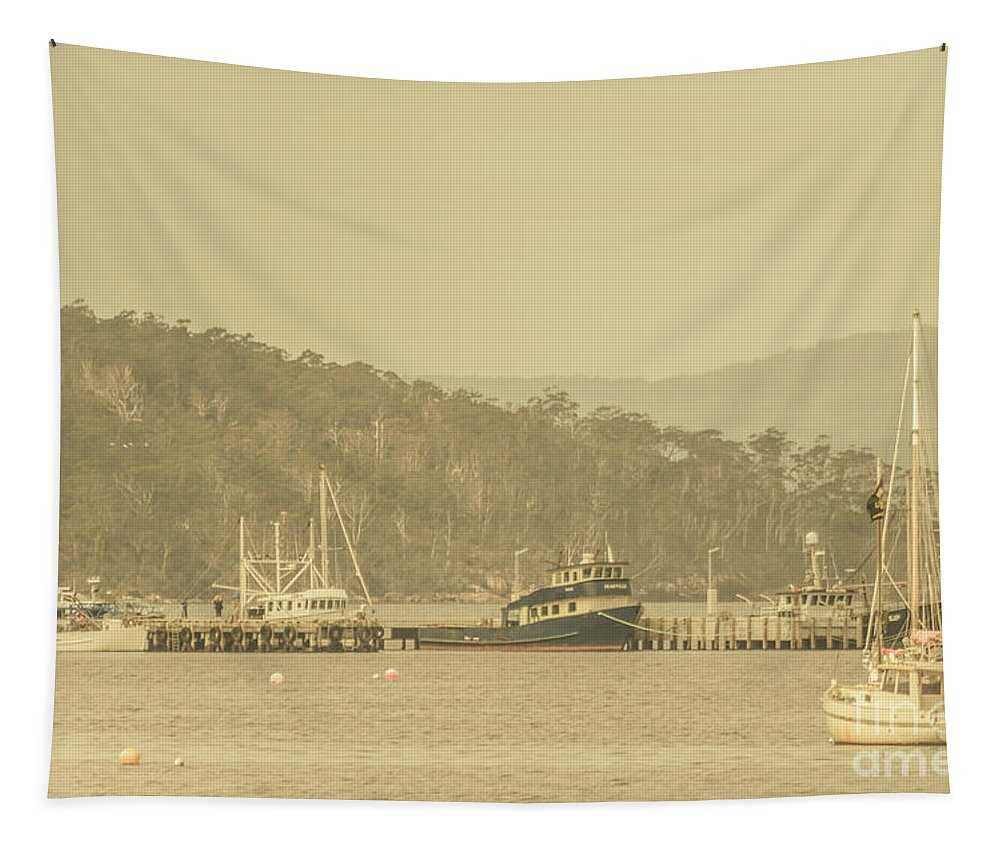 Harbour Tapestry featuring the photograph Seascapes Of Old by Jorgo Photography - Wall Art Gallery