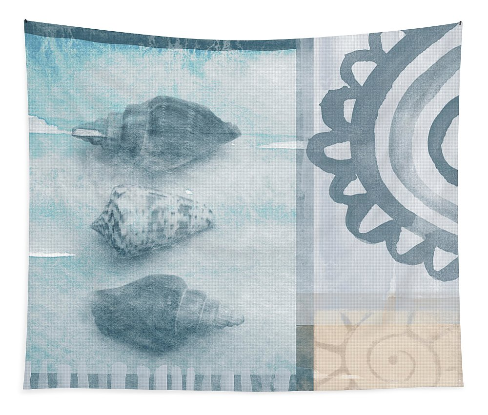 Beach Tapestry featuring the painting Seashells 2 by Linda Woods