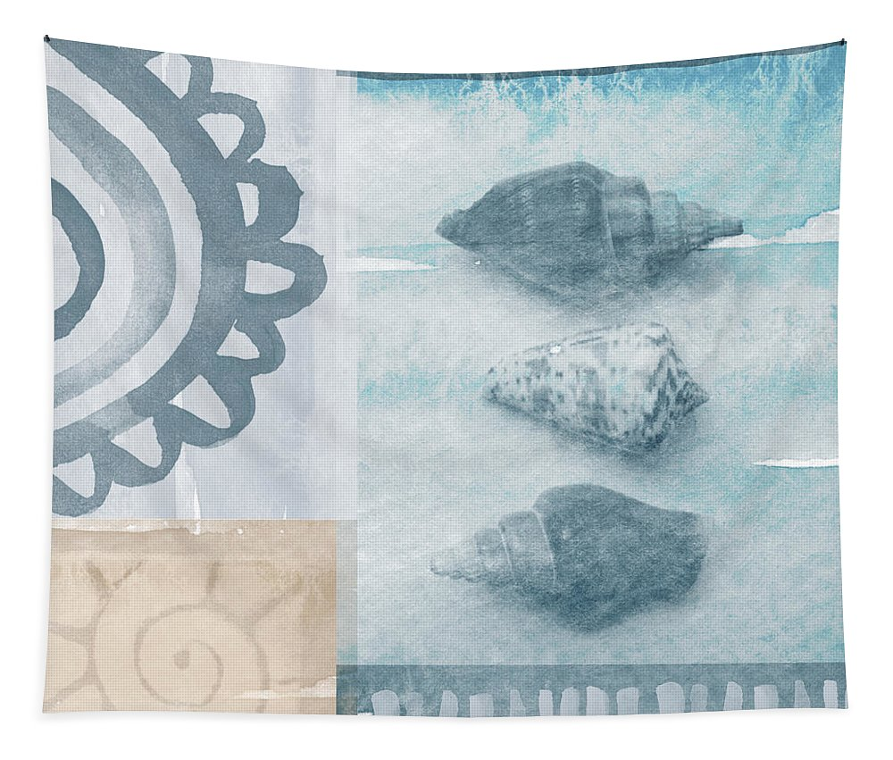 Beach Tapestry featuring the painting Seashells by Linda Woods