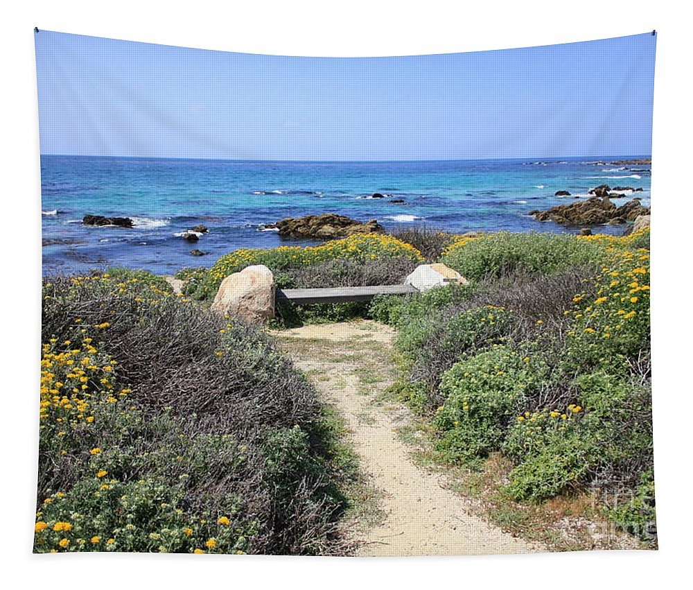 Landscape Tapestry featuring the photograph Seaside Bench by Carol Groenen