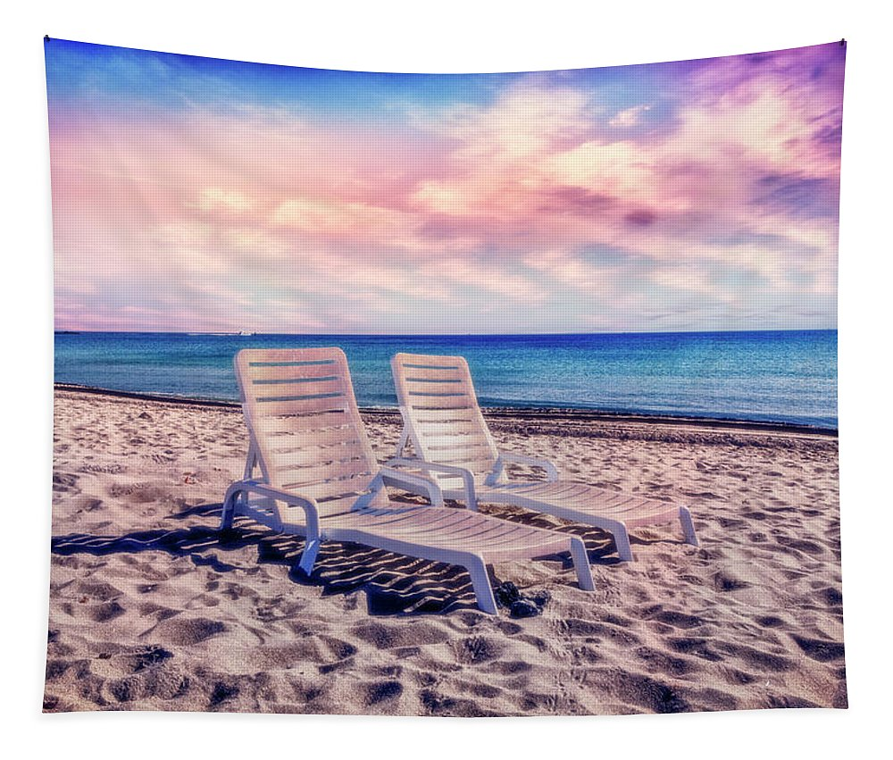 Clouds Tapestry featuring the photograph Seaside Chairs by Debra and Dave Vanderlaan