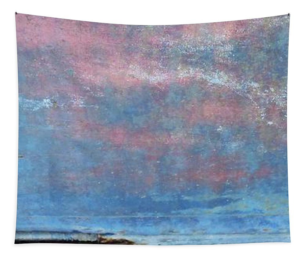 Abstract Tapestry featuring the mixed media Seaside Panorama by Sharon Eng