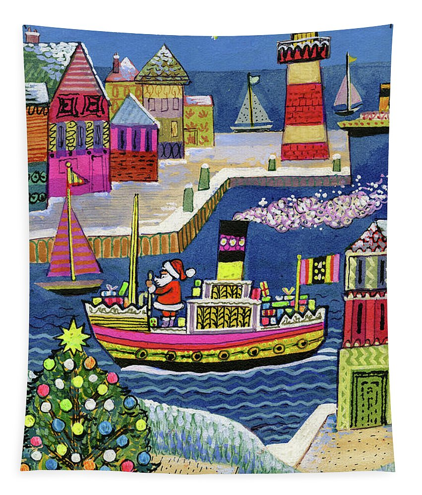 Christmas Tapestry featuring the painting Seaside Santa by Stanley Cooke