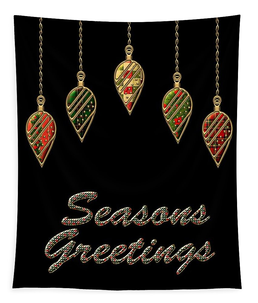 Red Tapestry featuring the digital art Seasons Greetings Merry Christmas by Movie Poster Prints
