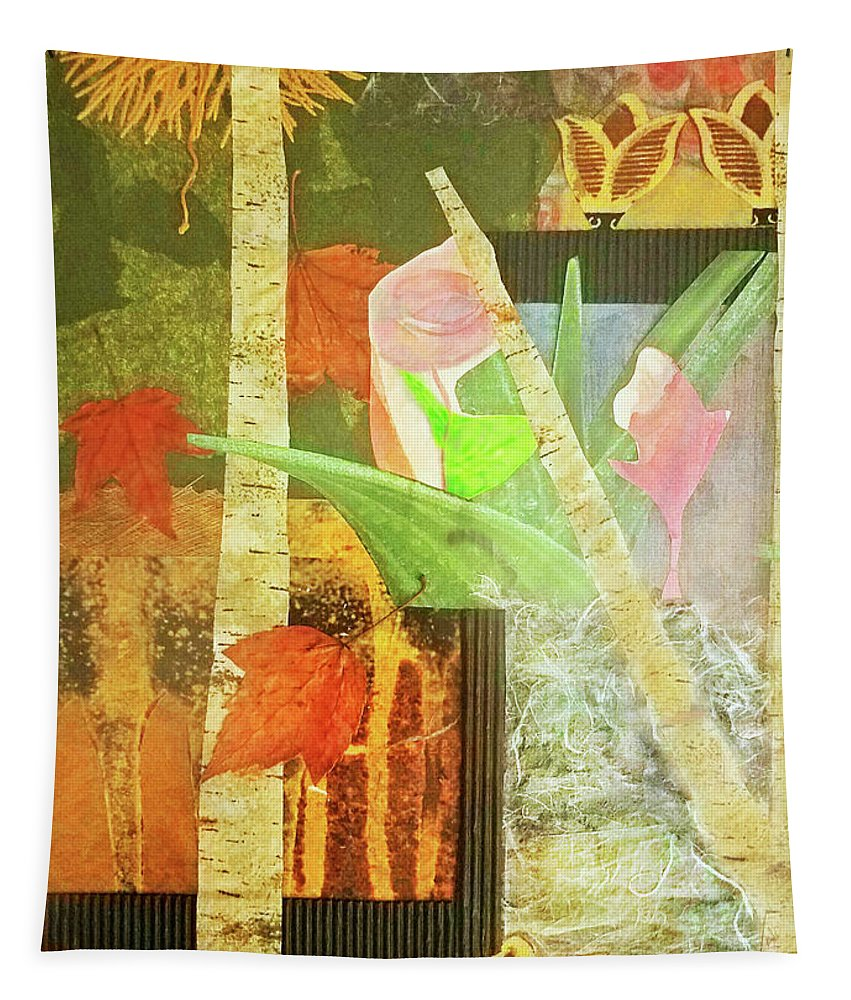 Abstract Tapestry featuring the mixed media Seasons by Sharon Eng