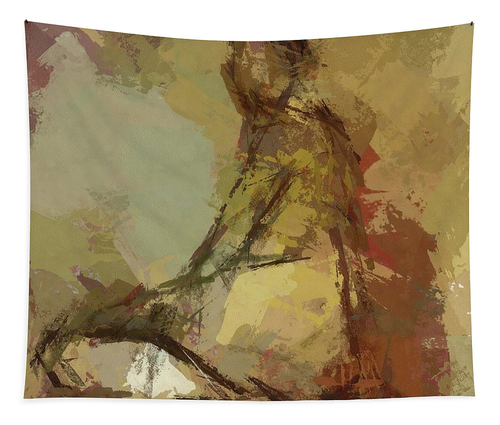 Female Tapestry featuring the painting Seated Figure by Dragica Micki Fortuna
