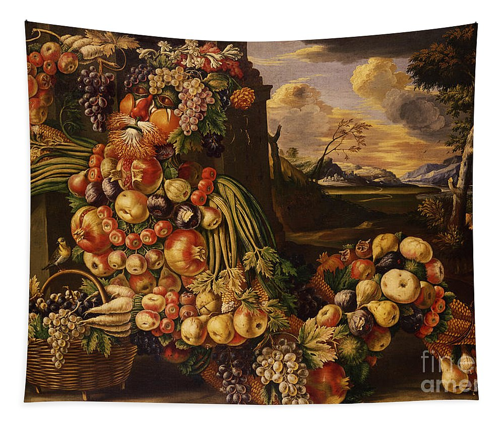 Arcimboldo Tapestry featuring the painting Seated Figure Of Summer, 1573 by Giuseppe Arcimboldo