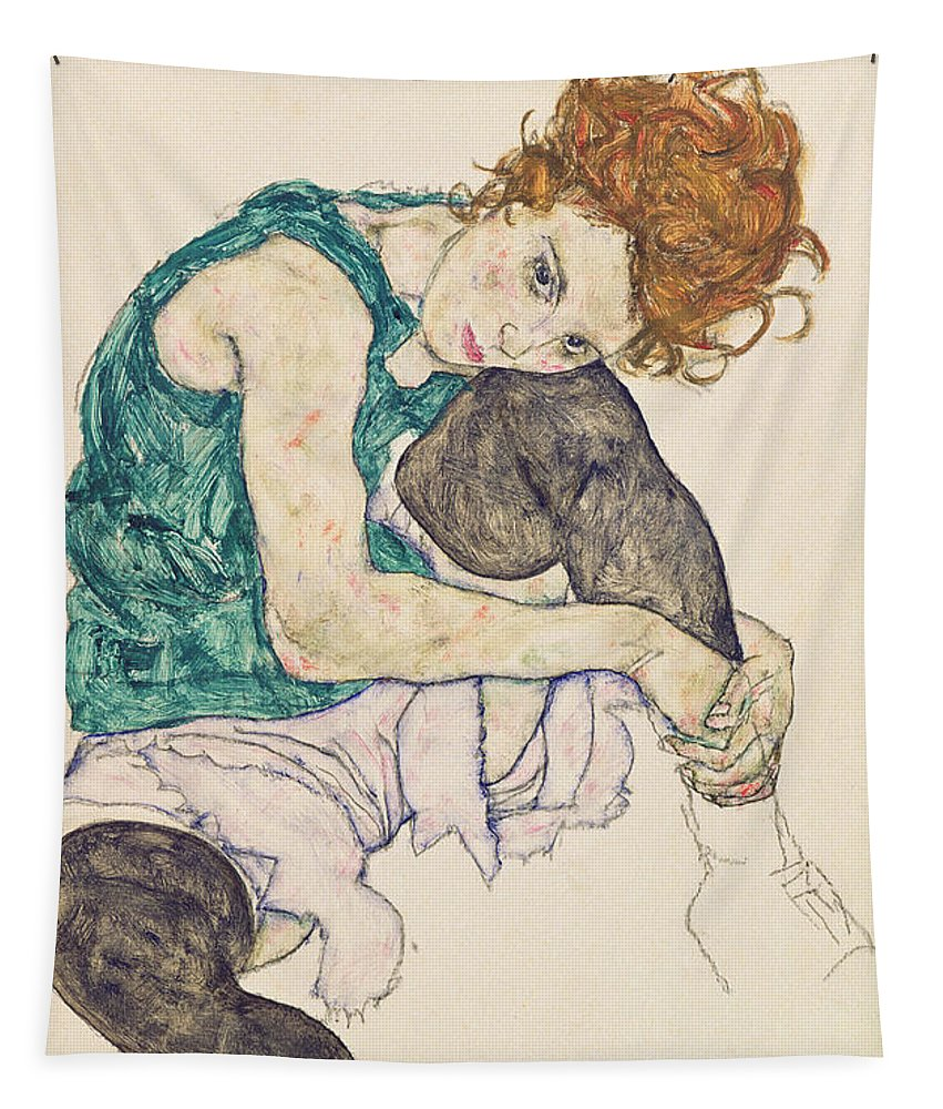 Egon Schiele Tapestry featuring the painting Seated Woman with Bent Knee by Egon Schiele