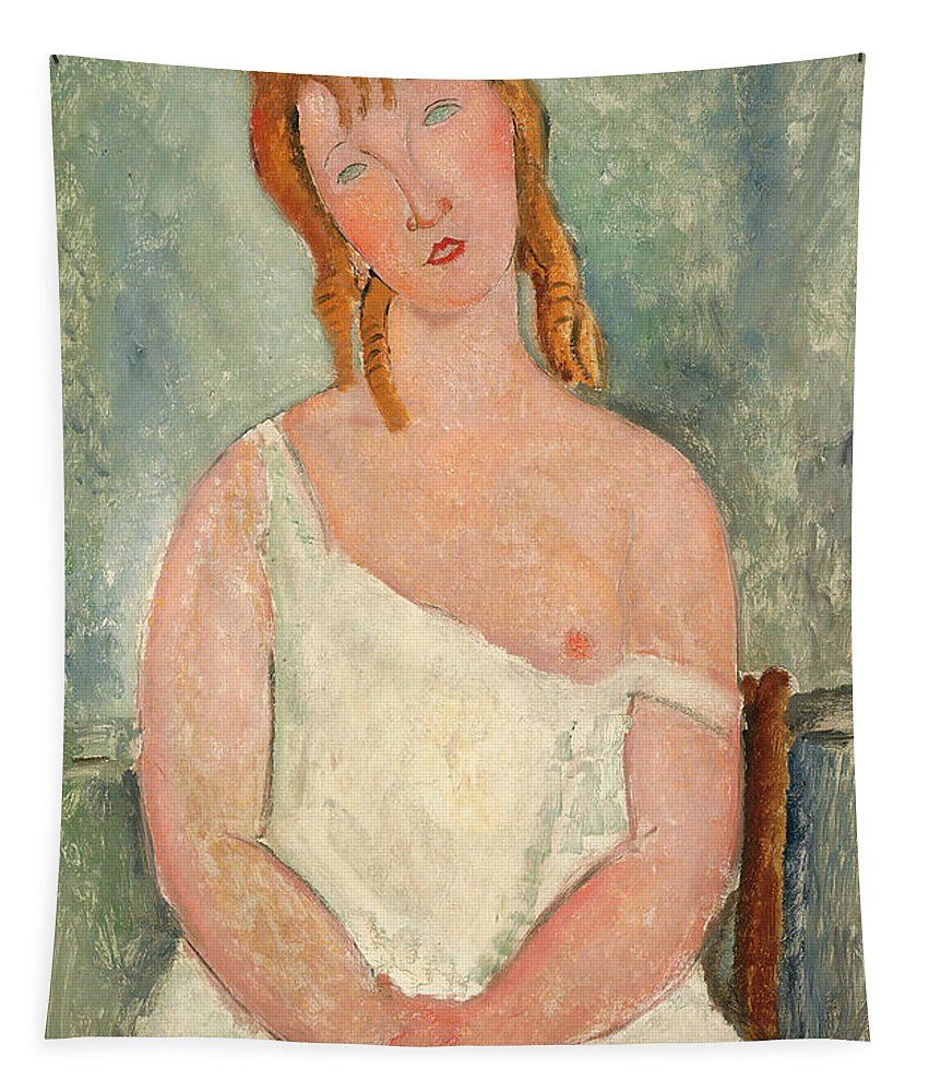 Breast Tapestry featuring the painting Seated Young Girl In A Shirt by Amedeo Modigliani
