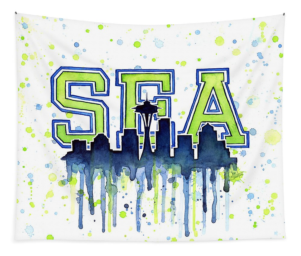 Watercolor Tapestry featuring the painting Seattle Watercolor 12th Man Art Painting Space Needle Go Seahawks by Olga Shvartsur
