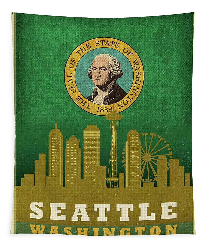 Seattle Tapestry featuring the mixed media Seattle City Skyline State Flag Of Washington Art Poster Series 017 by Design Turnpike