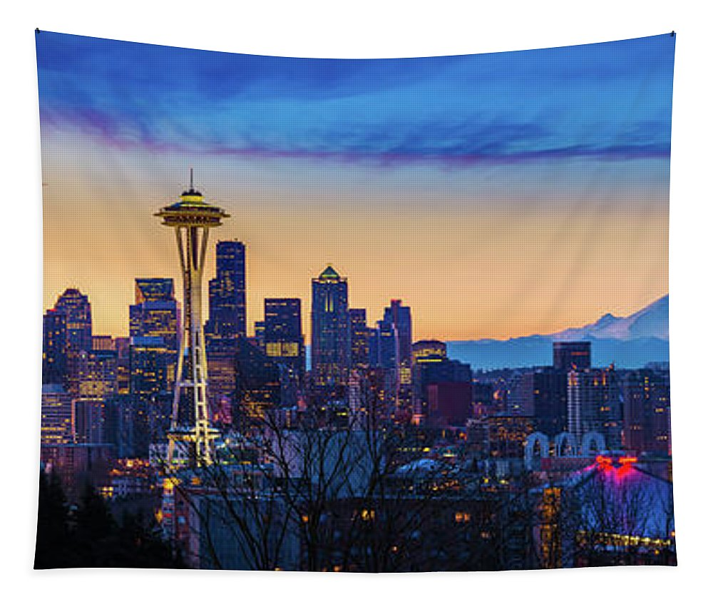 America Tapestry featuring the photograph Seattle Dawn Panorama by Inge Johnsson