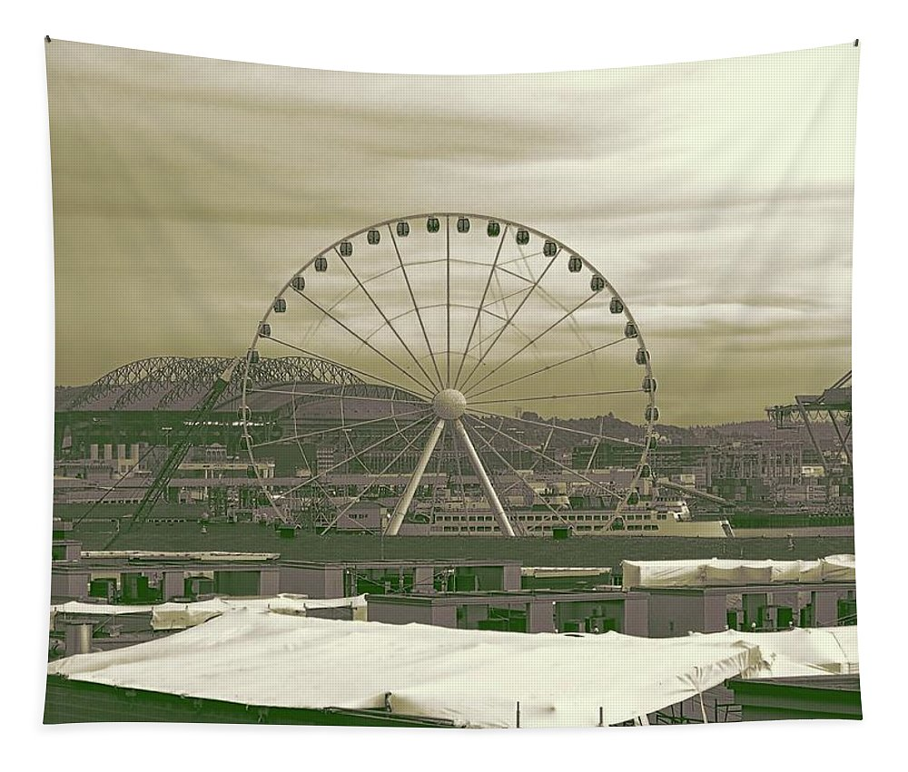 Seattle Great Wheel Tapestry featuring the photograph Seattle Great Wheel And Pier 57 by Dan Sproul