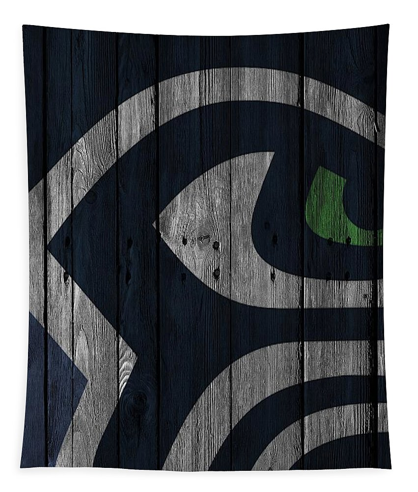 Seahawks Tapestry featuring the photograph Seattle Seahawks Wood Fence by Joe Hamilton