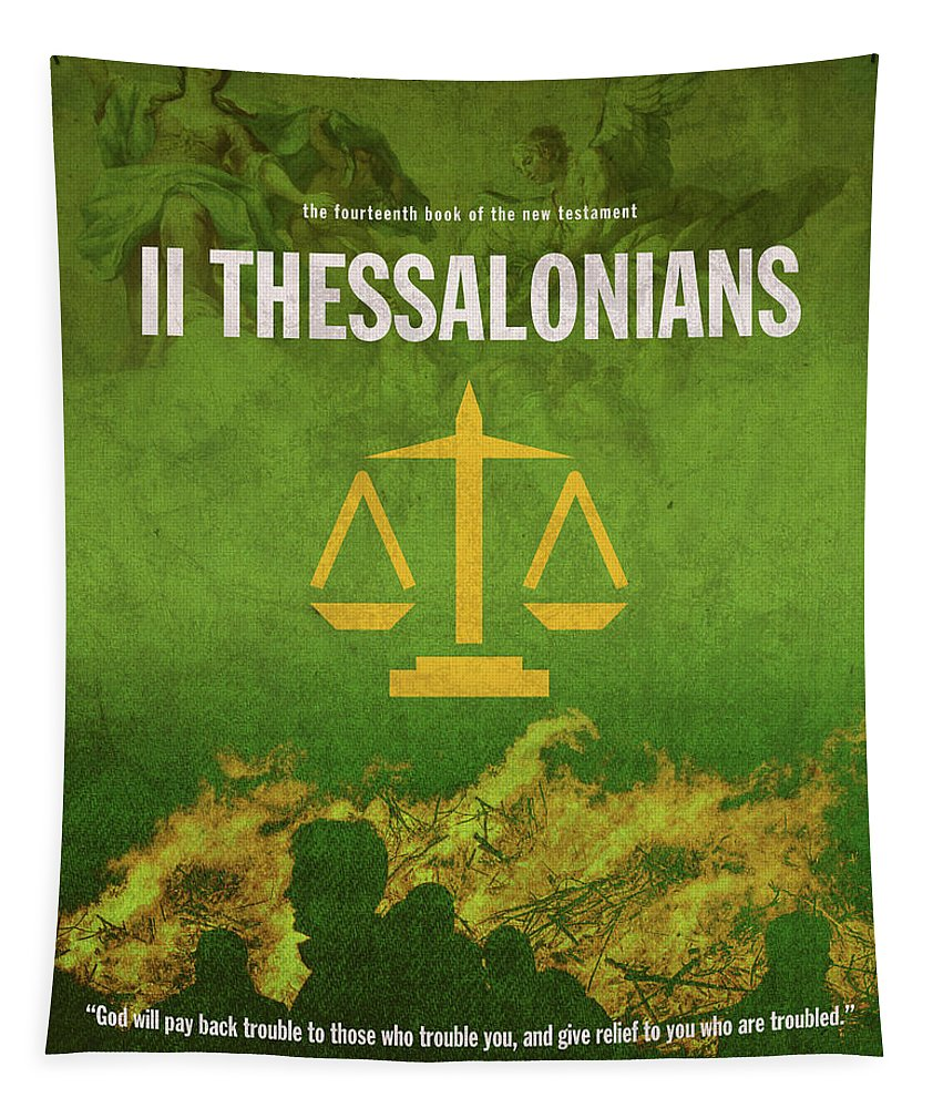 Second Thessalonians Tapestry featuring the mixed media Second Thessalonians Books Of The Bible Series New Testament Minimal Poster Art Number 14 by Design Turnpike
