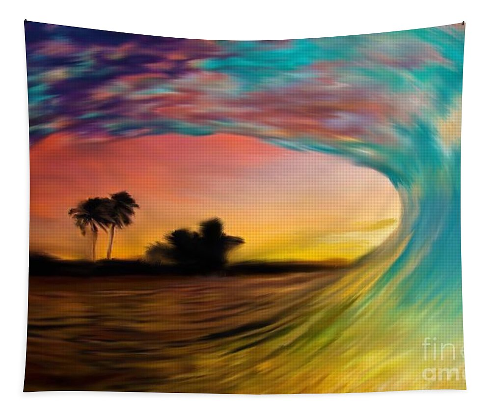 Tapestry featuring the painting See Thru Wave by Jack Bunds