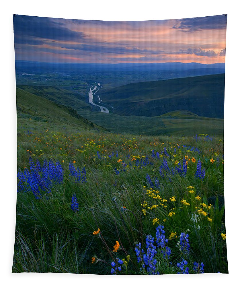 Wildflowers Tapestry featuring the photograph Selah Sunset by Mike Dawson