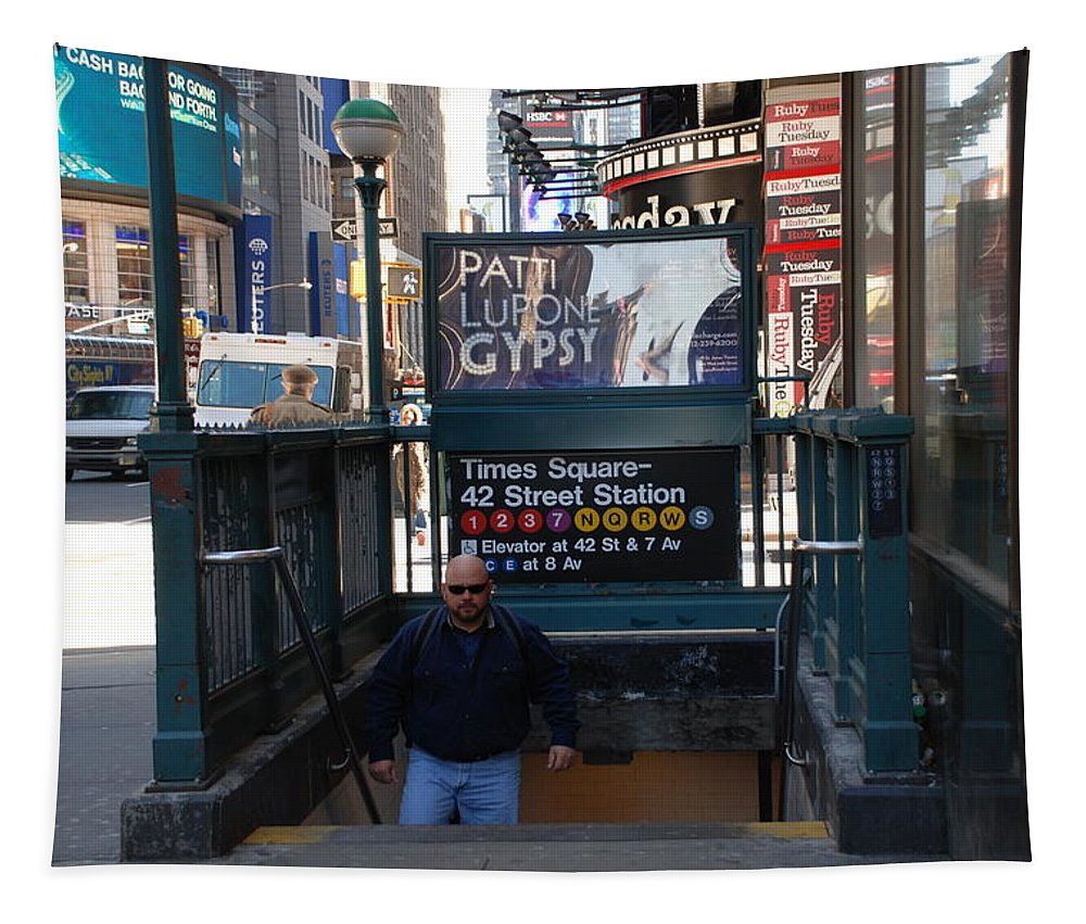 Subay Tapestry featuring the photograph Self At Subway Stairs by Rob Hans