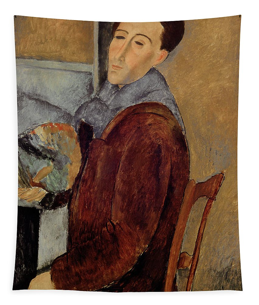 Self Tapestry featuring the painting Self Portrait by Amedeo Modigliani