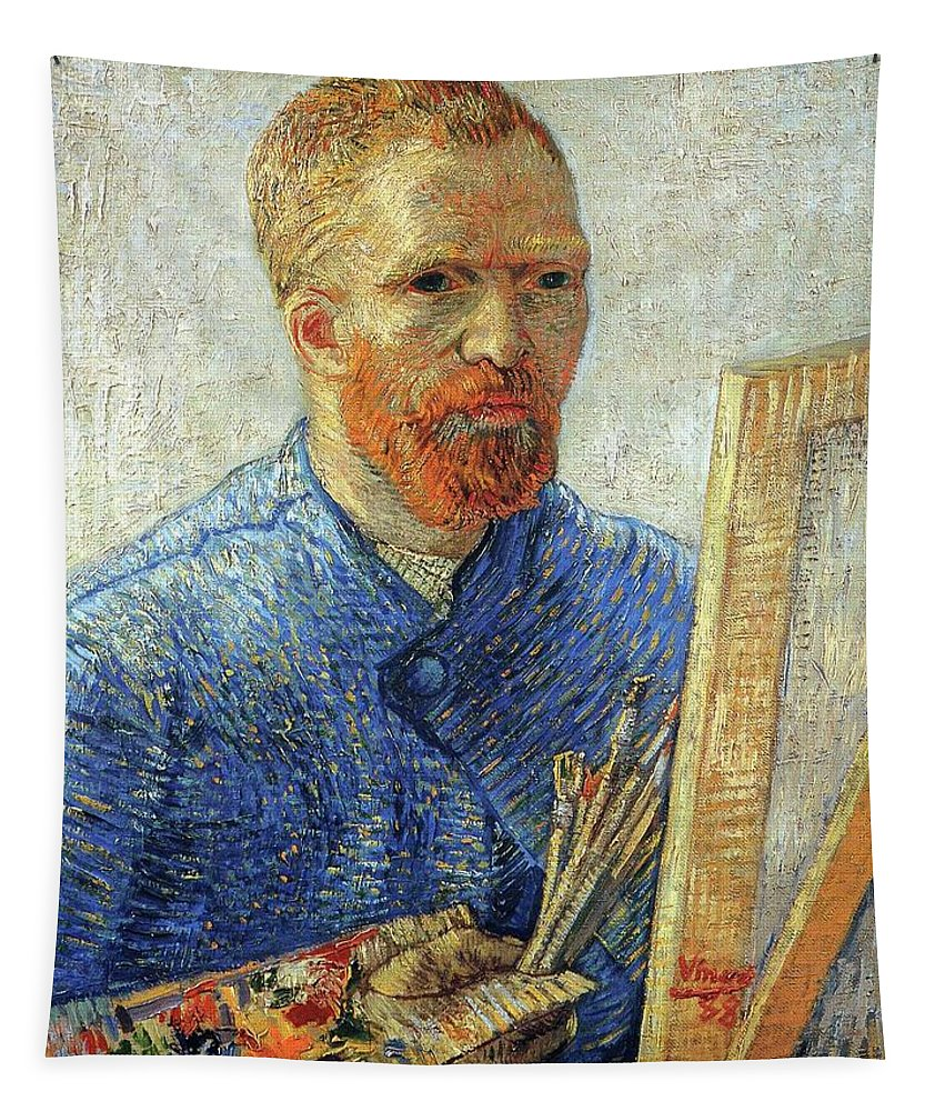 Vincent Van Gogh Tapestry featuring the painting Self Portrait As An Artist by Van Gogh