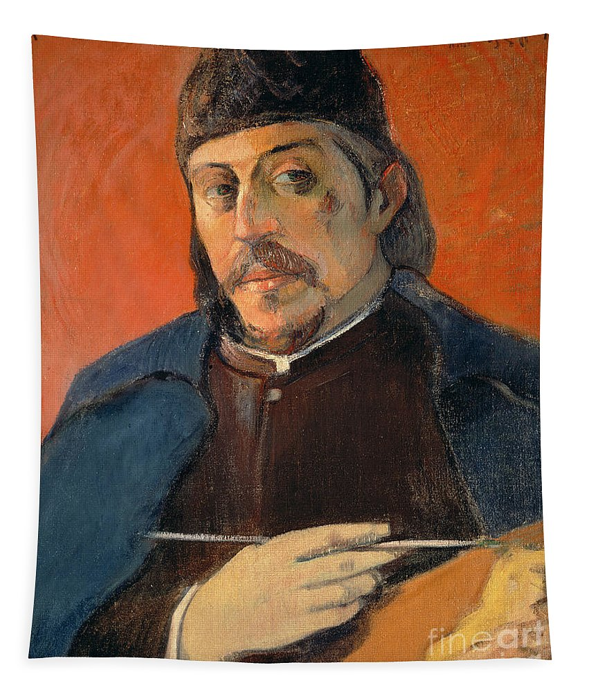 Gauguin Tapestry featuring the painting Self Portrait With A Palette by Paul Gauguin