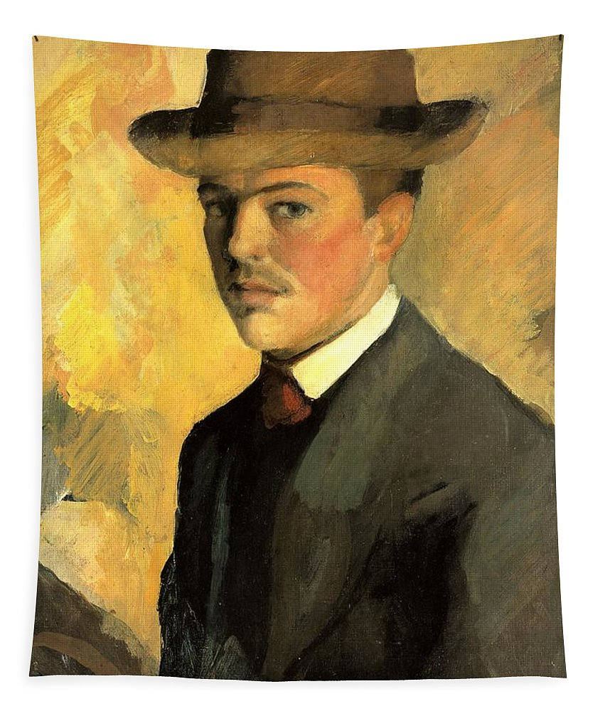 August Macke Tapestry featuring the painting Self Portrait With Hat by August Macke