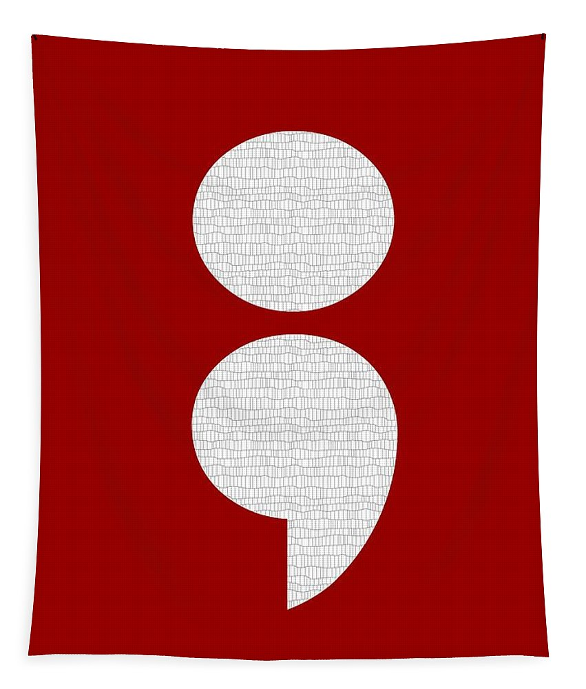 Typography Tapestry featuring the digital art Semicolon 011 by Bill Owen