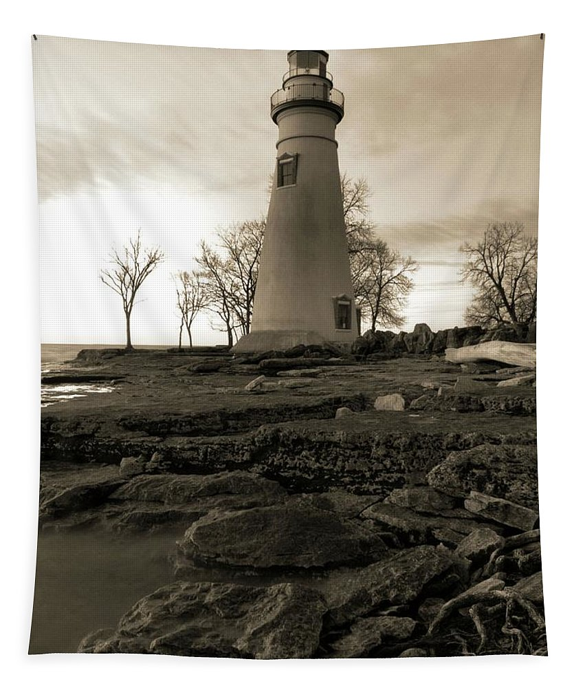 Sepia Marblehead Lighthouse Tapestry featuring the photograph Sepia Marblehead Lighthouse by Dan Sproul
