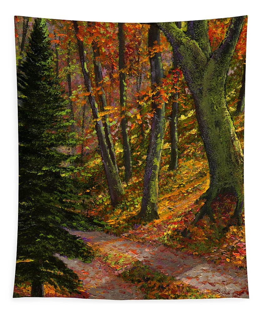 Road In The Woods Tapestry featuring the painting September Road by Frank Wilson