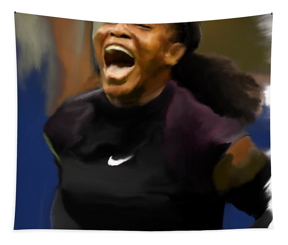 Tennis Tapestry featuring the painting Serena Williams '16 by Jack Bunds