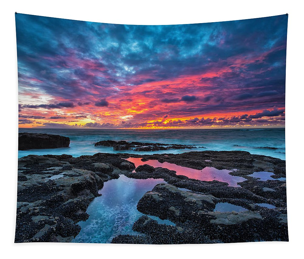 Sunset Tapestry featuring the photograph Serene Sunset by Robert Bynum