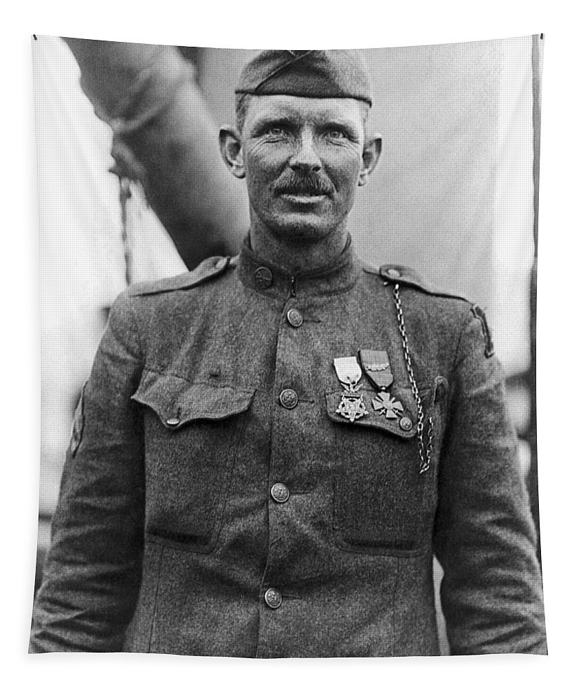 Alvin York Tapestry featuring the photograph Sergeant York - World War I Portrait by War Is Hell Store