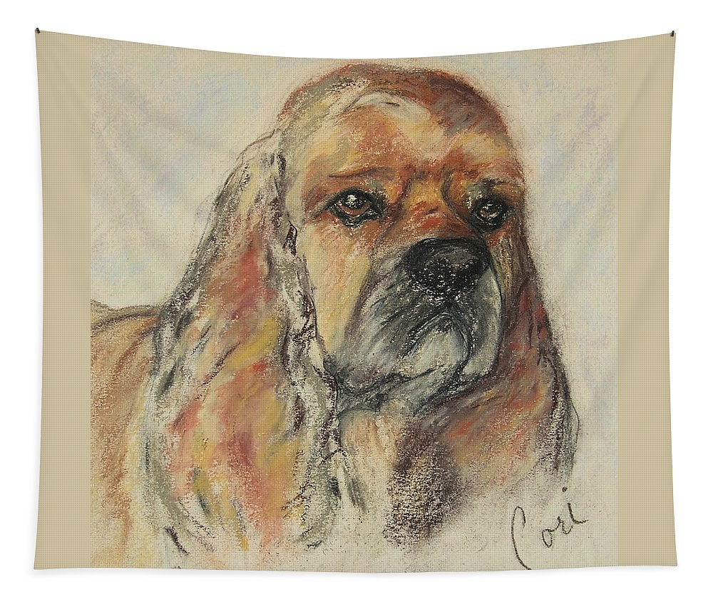 Dog Tapestry featuring the drawing Serious Intent by Cori Solomon