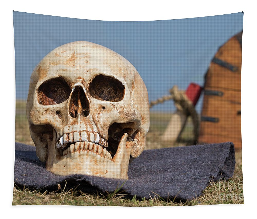 Skull Tapestry featuring the photograph Service With A Smile by Terri Waters
