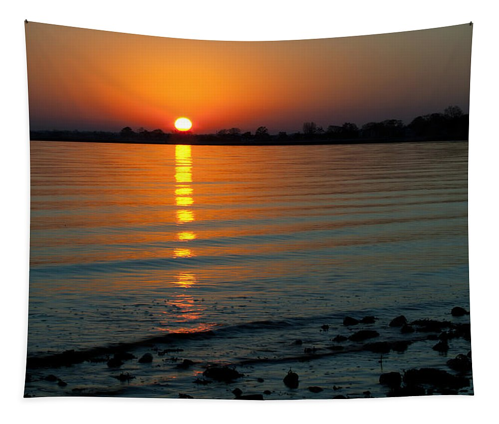 Sunset Tapestry featuring the photograph Settling Sun by Karol Livote