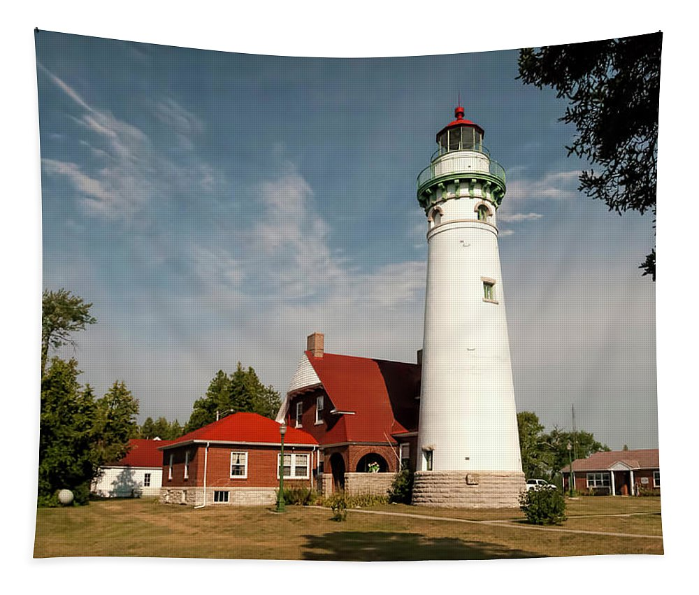 Seul Choix Point Lighthouse Tapestry featuring the photograph Seul Choix Point Lighthouse by Phyllis Taylor