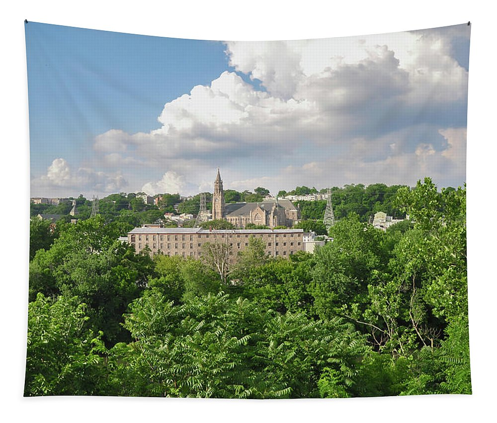 Seville Tapestry featuring the photograph Seville Schofields Mill And St John The Baptist - Manayunk by Bill Cannon