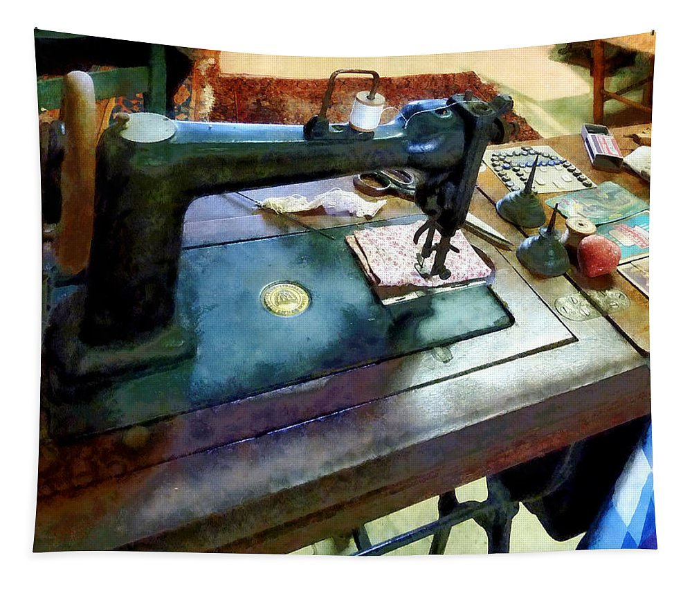Sewing Machine Tapestry featuring the photograph Sewing Machine With Sissors by Susan Savad