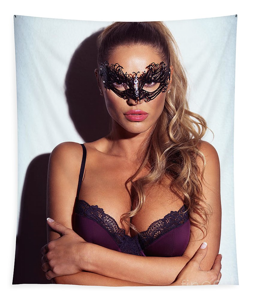 Sexy Tapestry featuring the photograph Sexy Glamorous Woman Wearing A Mask by Oleksiy Maksymenko