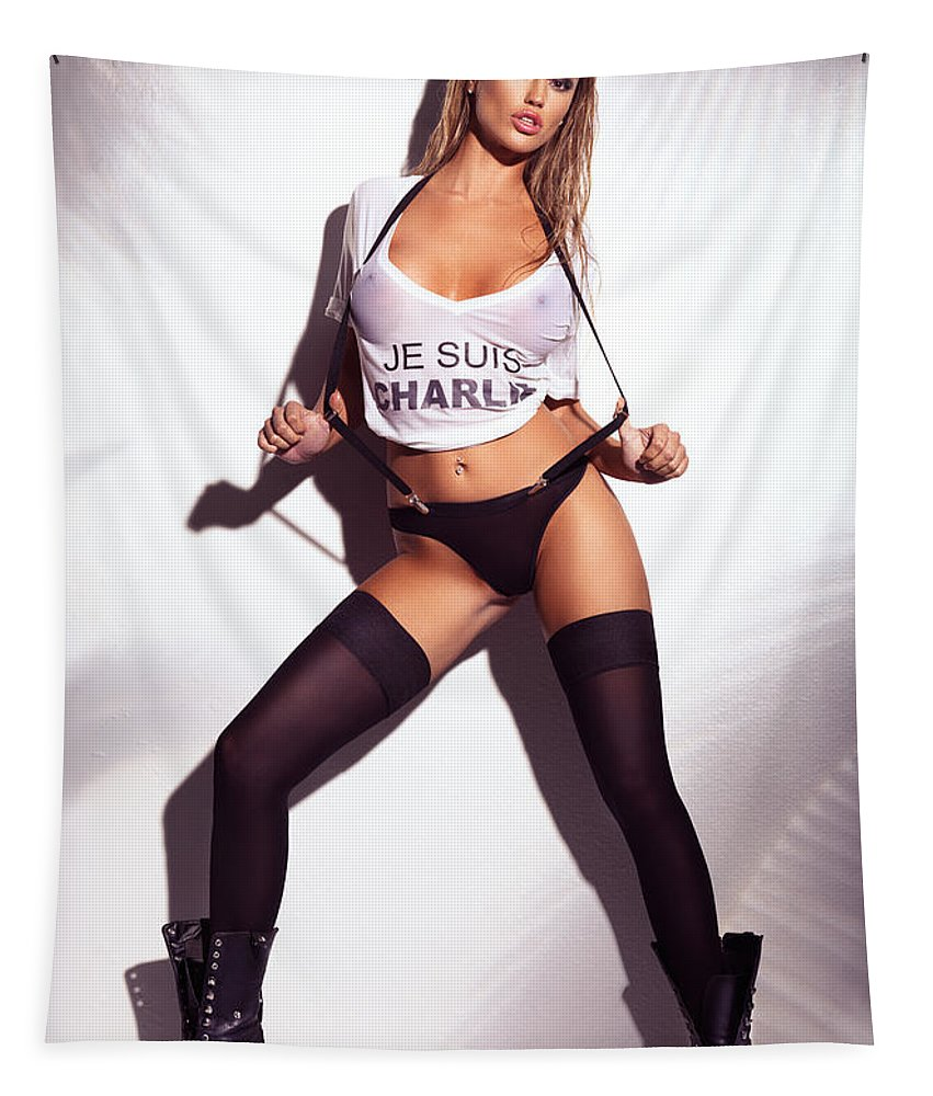 Glamour Tapestry featuring the photograph Sexy Woman In Wet Je Suis Charlie Shirt And Stockings Charlie Riina by Oleksiy Maksymenko