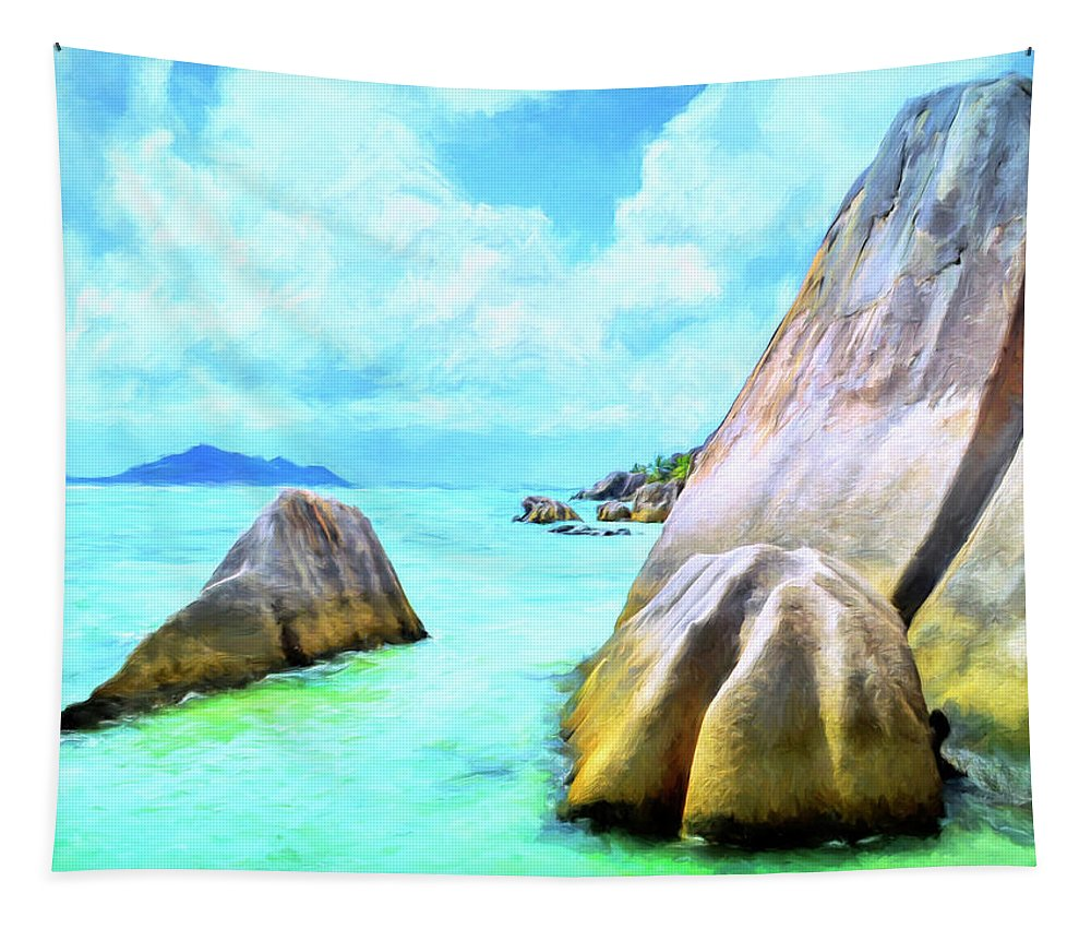Anse Source Argent Tapestry featuring the painting Seychelles Shallows by Dominic Piperata