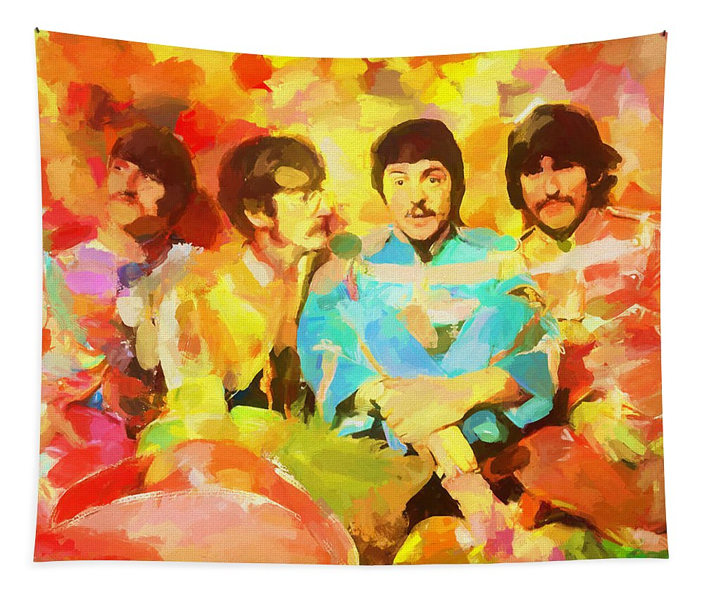 Sgt. Peppers Lonely Hearts Tapestry featuring the painting Sgt. Peppers Lonely Hearts by Dan Sproul