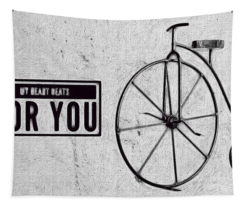 Shabby Chic Tapestry featuring the digital art Shabby Chic, Old Bicycle No 01 by Maria Astedt