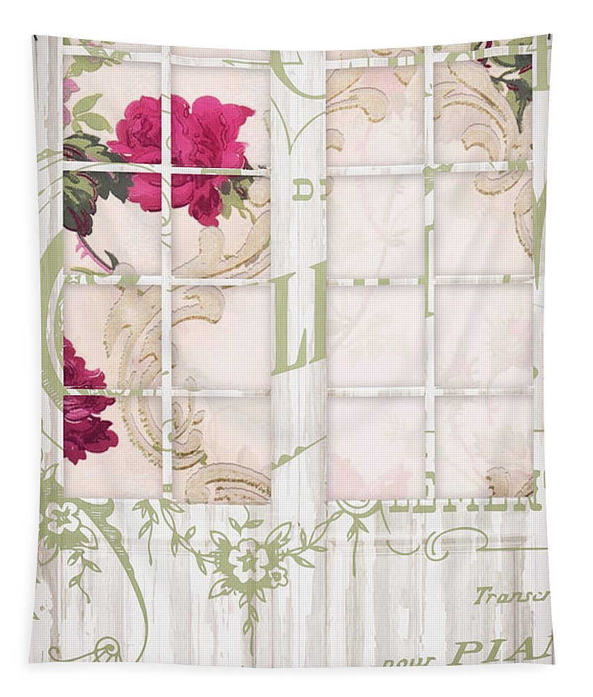 French Doors Tapestry featuring the painting Shabby Cottage French Doors by Mindy Sommers