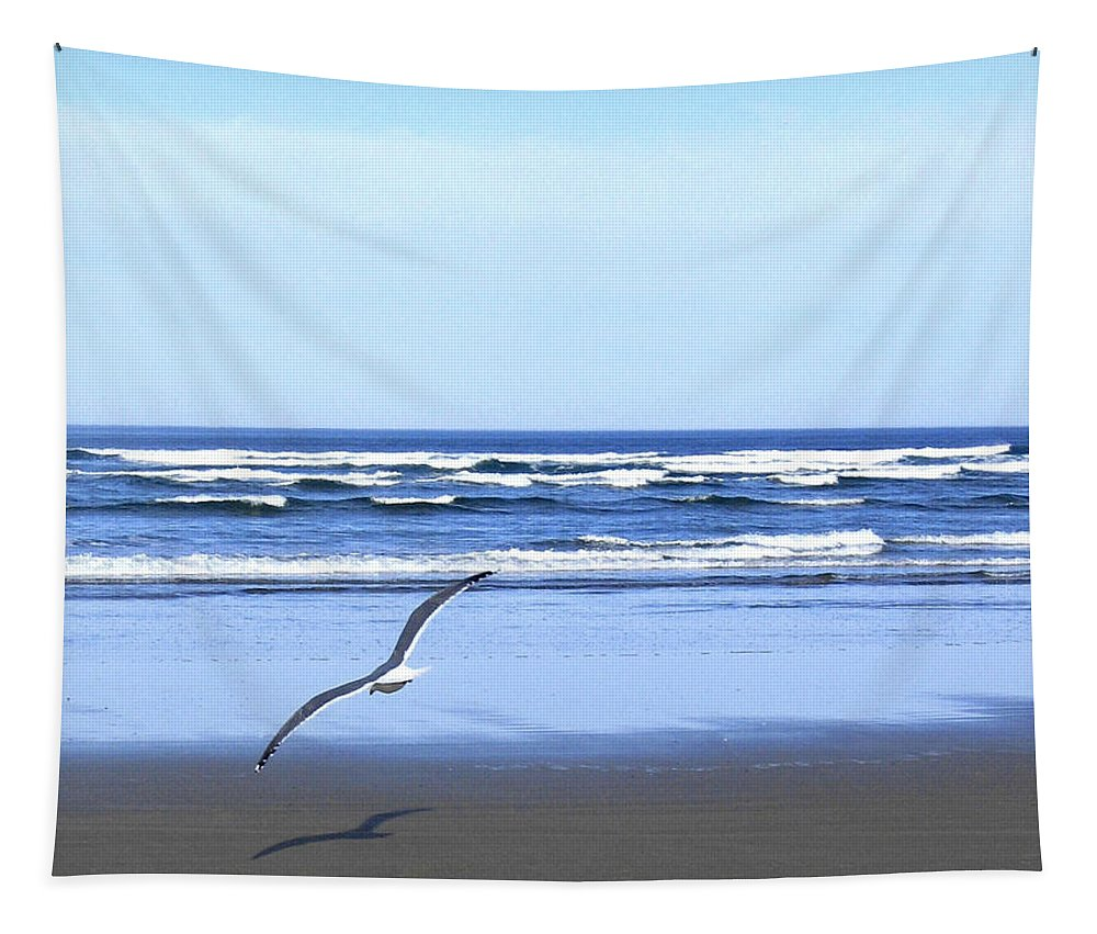 Seagull Tapestry featuring the photograph Shadow On The Sand by Will Borden