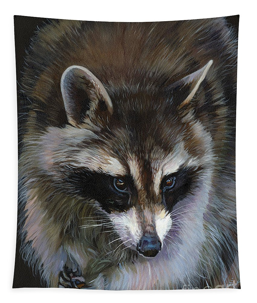 Raccoon Tapestry featuring the painting Shaken Not Stirred by J W Baker
