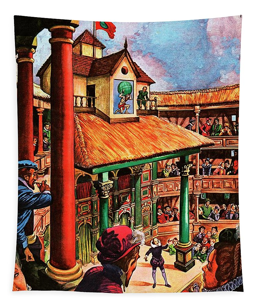 Actors Tapestry featuring the painting Shakespeare Performing At The Globe Theater by Peter Jackson