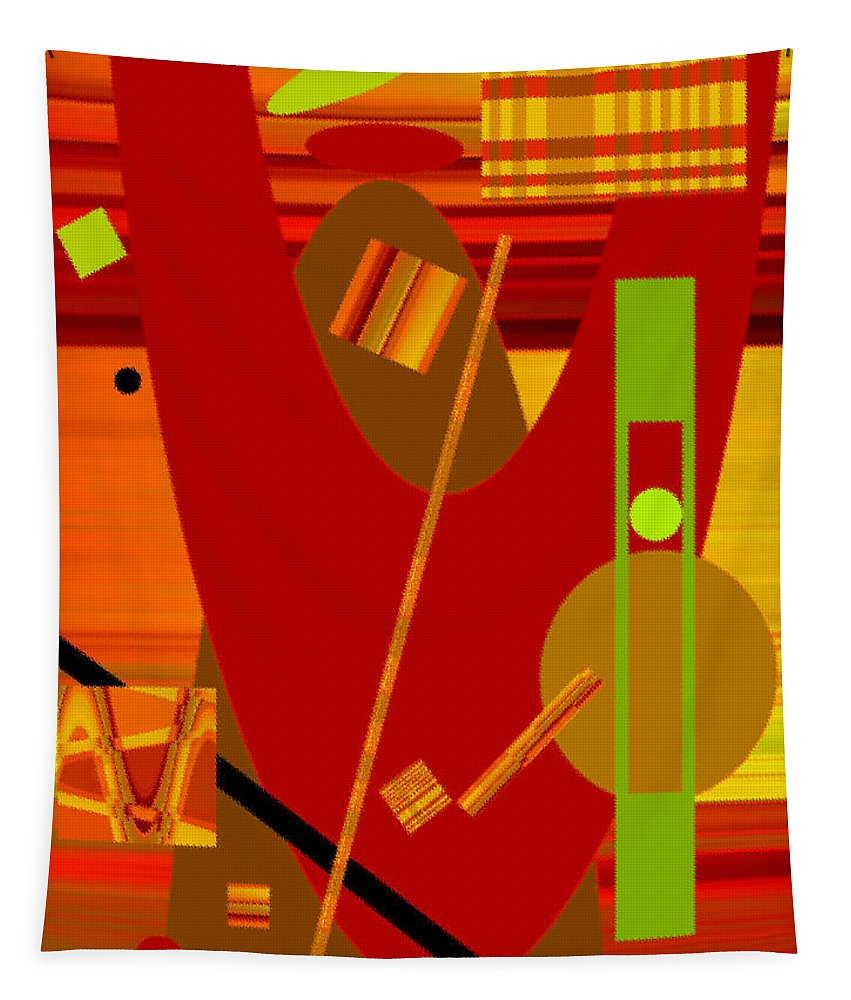 Abstract Tapestry featuring the digital art Shapes And Patterns In Red by Ruth Palmer