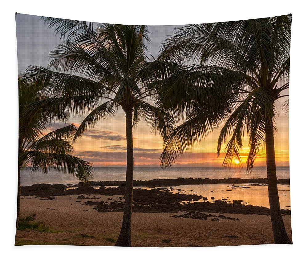 Sharks Cove Palm Tree Sunset Beach North Shore Oahu Hawaii Hi Seascape Tapestry featuring the photograph Sharks Cove Sunset 3 - Oahu Hawaii by Brian Harig