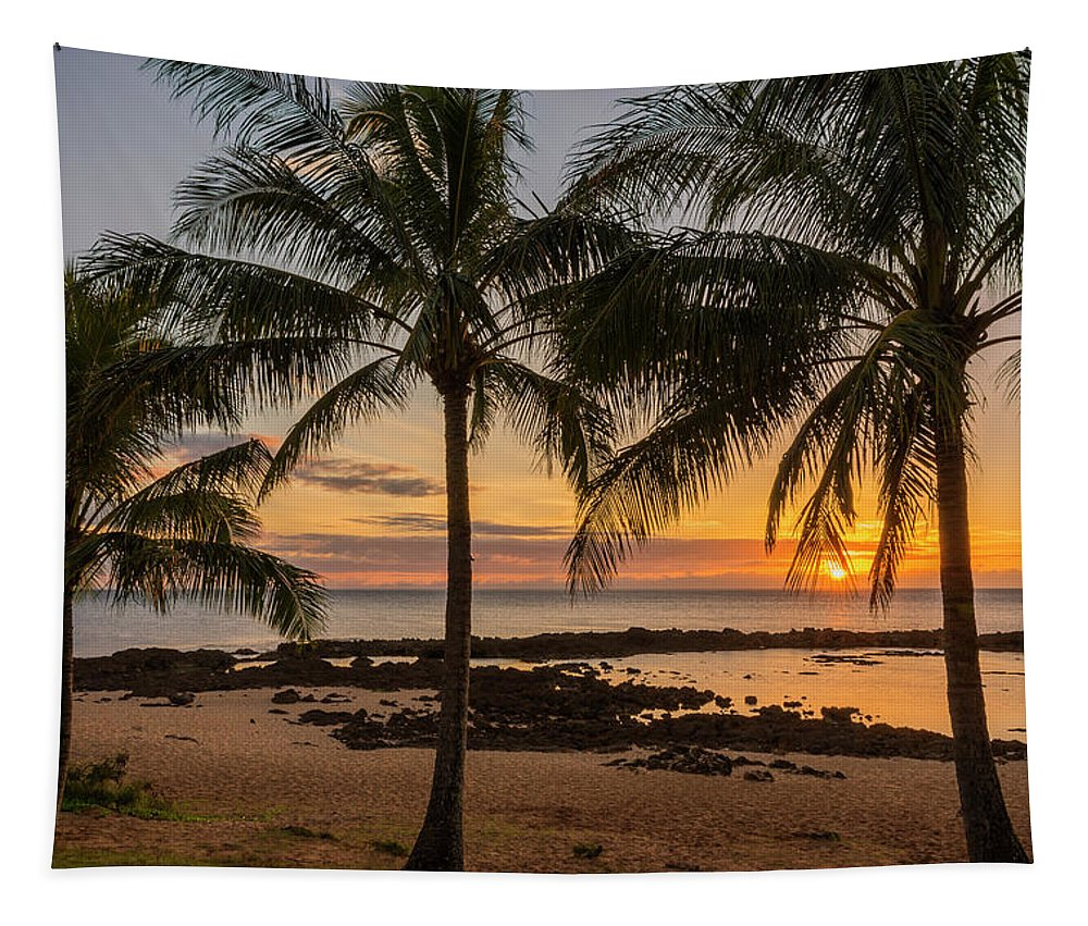Sharks Cove Palm Tree Sunset Beach North Shore Oahu Hawaii Hi Seascape Tapestry featuring the photograph Sharks Cove Sunset 4 - Oahu Hawaii by Brian Harig
